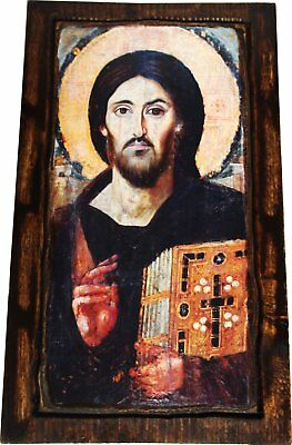 Jesus Christ - Pantocrator Of Sinai - Orthodox Byzantine icon on wood handmade