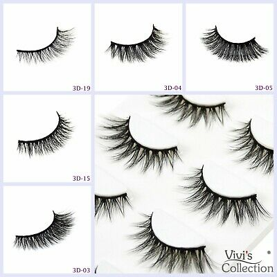 3D Mink False Eyelashes Long Thick Natural Fake Eye Lashes Set Makeup UK-5 Pairs