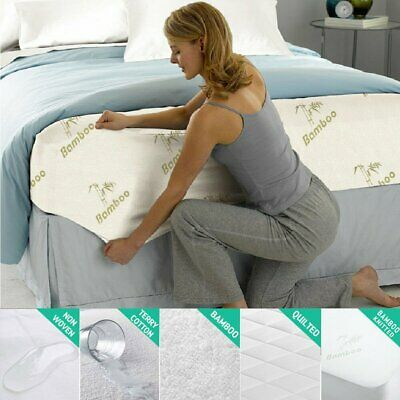 Bamboo Terry Cotton Mattress Cover Protector Waterproof Bed Cover Hypoallergenic