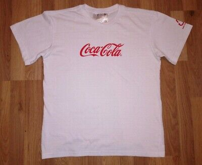 Official Coca Cola T Shirt Medium Mens- White with Red Logo-50% Recycled Bottles