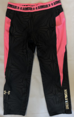 Under Armour Girls Tights Grey Pink Kids Medium YMD *REF89
