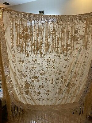 """Antique Chinese Hand Embroidered Silk Piano Shawl 52"""" X 52"""" Fringe 20"""""""