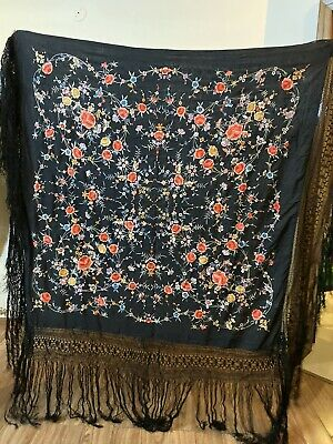 """Antique Chinese Hand Embroidered Silk Piano Shawl 50"""" X 52"""" Fringe 20"""""""