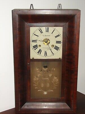 Antique 1844 Early Jerome American New Haven Chiming Wall Clock Weight Driven