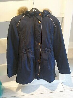 Ted Baker girls navy blue coat jacket hooded age 11 years