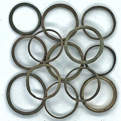 13 Authentic Ancient Or Medieval Wedding Band Ring Artifact Lot Roman Europe Old