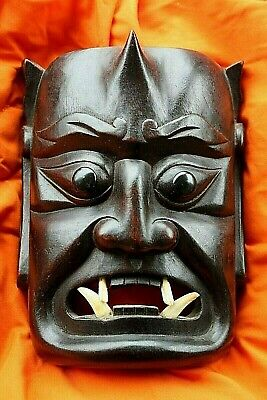 Balinese Bali Mask Indonesian Black Asian Wooden Carved Wall Hanging 1950's REAL