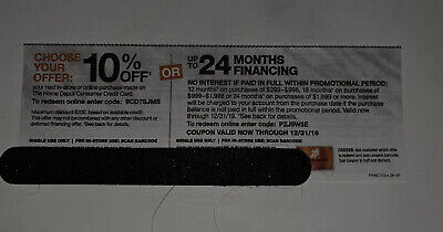 Home Depot 10% off or No interest up to 24 months online coupon expires 12/31/19