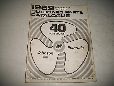 1969  EVINRUDE and JOHNSON  40 HP OUTBOARD PARTS LIST CATALOG ELECTRIC SHIFT