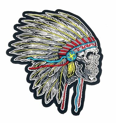 "#3091G 3 5//8/""x4 1//4/"" Gold Indian Chief Head Feather Embroidery Applique Patch"