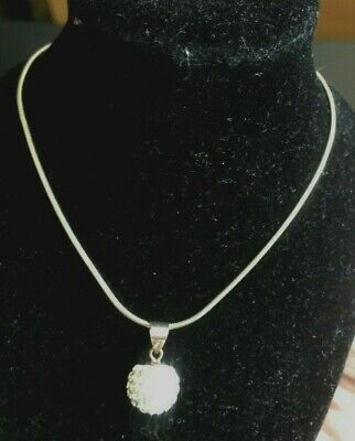 """Solid Sterling Silver Woman's Rope Necklace & Pendent 5.3 grams 18"""" Long"""