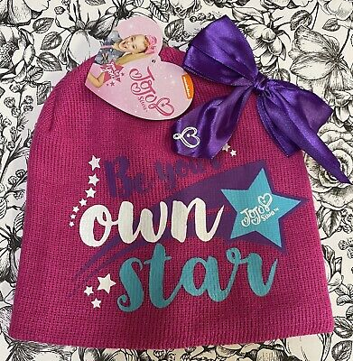 JoJo Siwa Nickelodeon Be Your Own Star Pink Beanie Bow Hat Youth One Size NWT