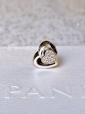 Authentic Pandora Sterling & 14kt Gold Two Hearts In One Charm W/ Gift Pouch
