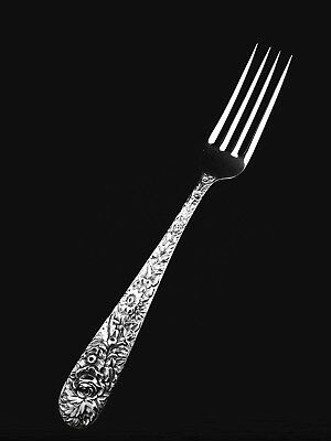 """🍴 S. Kirk and Son Inc Sterling Silver Repousse Dinner or Luncheon Fork -7 1/4"""""""