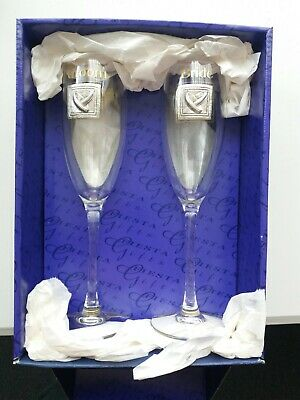 BOXED PAIR of Bride & Groom CHAMPAGNE FLUTES- GLASSES ... FIESTA GIFTS
