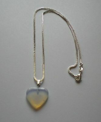 New Blue Moonstone Crystal Gemstone Heart Pendant 925 Sterling Silver Necklace