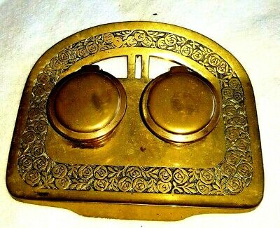 Antique Inkwell Victorian Brass Double