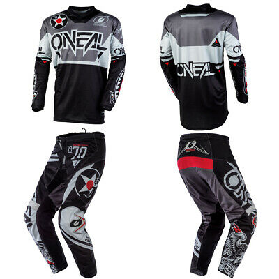 O'Neal Element Warhawk Black motocross dirt bike gear - Jersey Pants combo