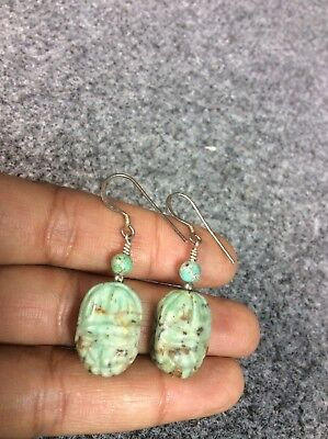Stunning Vtg  Egyptian sterling  Silver Scarab Turquoise Wire earrings