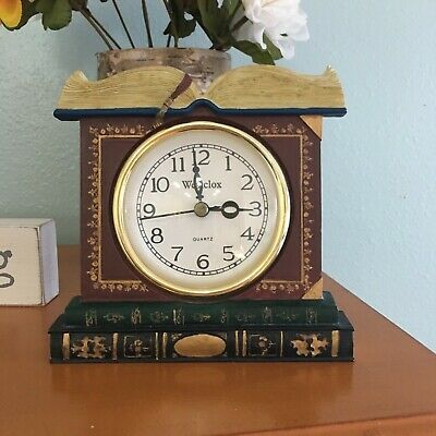 Westclox Books /Table Wooden Clock Brown Reddish color