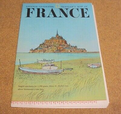 National Geographic June 1971 Map Poster Traveler's Map of France