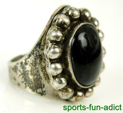 LARGE Black Onyx Mexico 925 Sterling Silver Beaded Dome Ring Sz.8.75 Vintage