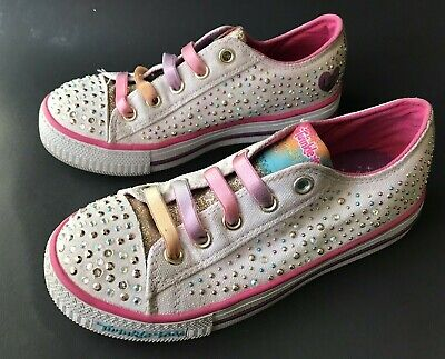 SKECHERS Twinkle Toes Limited Edition Girls Kids Sneakers Shoes Size 1 White