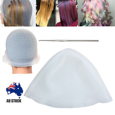 Silicone Reusable Hair Coloring Highlighting Cap + Hook Hairdressing Styling AUS