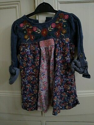 Next Girl's Floral Demin Dress 3-4 Years