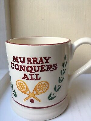 Emma Bridgewater Andy Murray 2016 Wimbledon 1/2 Pint Mug. First Quality