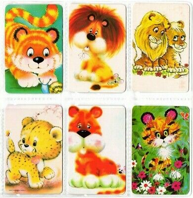 6 LIONS & TIGERS Blank Back Swap Playing Cards