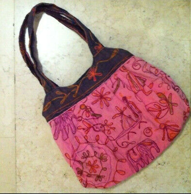 Shoulder Bag cottona fabric pink with folkloric embroidery