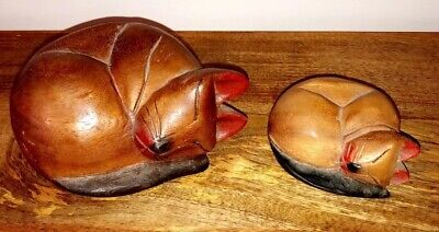Vintage Antique Large Wooden Pair Of 2 Cats 19th Century Carved Folk Shaker Art