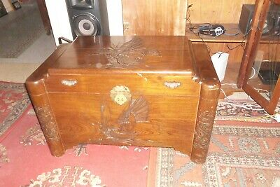 Camphor Wood Chest Oriental Nautical Themed Carving Circa 1960 Brass fittings