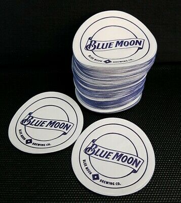 Pack of approx 120 Blue Moon Lager Beer Mats Drip Mats Coasters - Home Bar - Pub