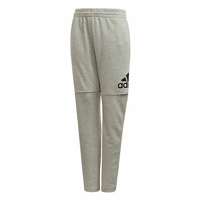 adidas Logo Boys Kids Junior Fleece Tracksuit Pant Grey/Black - 7-8 Years