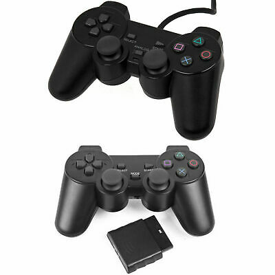 NEW Box Wired Wireless Black Dual Shock Controler for PS2 Joypad Gamepad