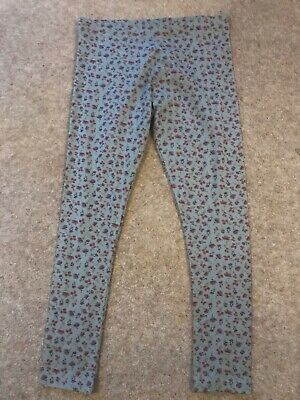 Girls Light Grey Leggings with Red Flowers By NEXT. Age 10 Years