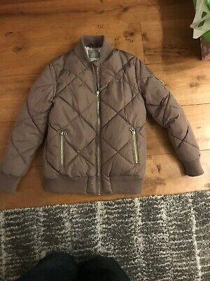 Girls Padded Bomber Jacket In Beige/Gold Age 11 Fantastic Condition
