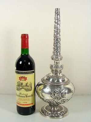 A Large Ottoman Silver Repoussé Rosewater Sprinkler Turkish Osmanli Armasi Marks
