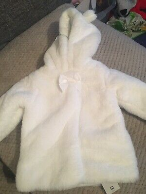 George White Baby Fur Coat Girl 9-12 Months