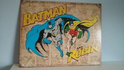 Batman and Robin Weathered Rustic Retro Collectibles Tin Metal Sign 12.5 x 16