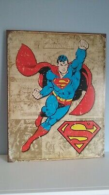 Superman Weathered Panel Rustic Retro Collectibles Tin Metal Sign 12.5 x 16