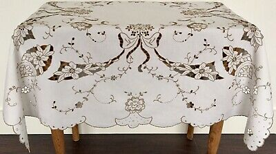 Vintage Stunning Hand Embroidered Linen Madeira Cut Work Tablecloth Ribbons