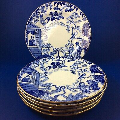 "Royal Crown Derby Blue Mikado Bone China 6"" Tea Plates - Set Of Six"