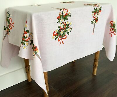Vintage Pale Pink Linen Printed Tablecloth Christmas Roses Ribbons Candles