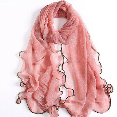 Women Long Soft Voile Wrap Scarf Elegant Sunscreen Voile Sheer Scarf Shawls CB