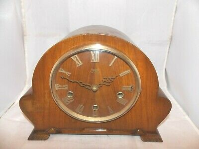English Smith's Enfield Westminster Chiming Mantel Clock In Good Working Order.