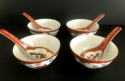 Vintage 4 Sets Hand Painted Chinese Dragon Porcelain Rice,Soup Bowls With Spoons