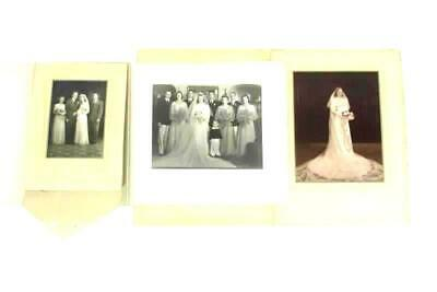 Lot Of 3 Vintage Black And White Wedding Photos In Cardboard Folders Early 1900s